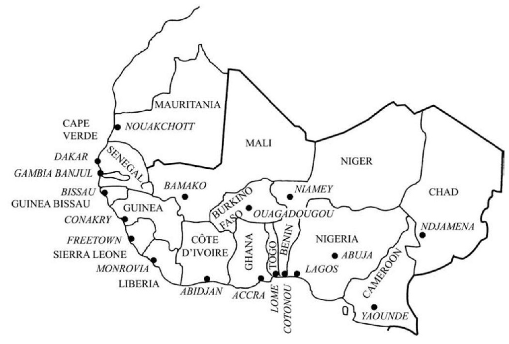 Africa west anthropology map west africa contemporary states ccuart Images