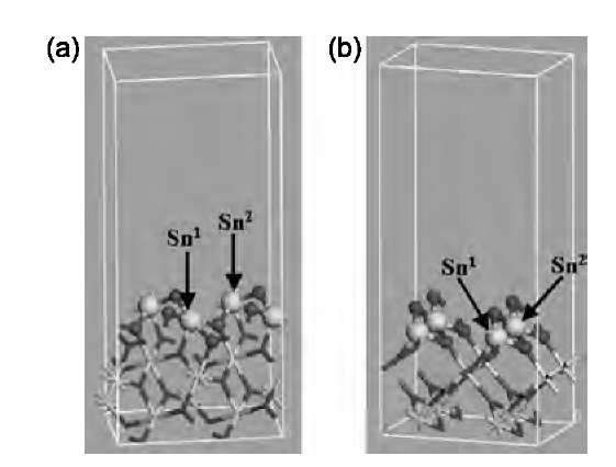 Simulation supercells representing exposed surfaces of a SnO2 nanoribbon: (a) (101) surface; (b) (010) surface. Surface atoms are shown in ball representation. White (larger) balls and black (smaller) balls represent Sn and O atoms, respectively. Sn1 and Sn2 are neighboring Sn atoms connected with a bridging O.