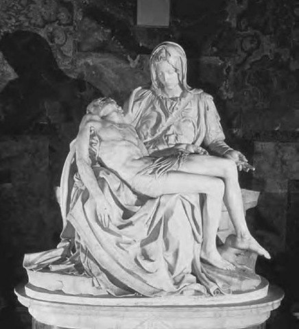 Pieta Michelangelo's first (1498-99) Pieta, which stands in St. Peter's, Rome. When challenged over the youthfulness of the Virgin Mary, in whose arms lies the dead Christ, Michelangelo is said to have replied that chaste women retain their beauty longer than others.