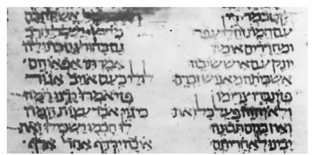 Passage from Deuteronomy in Jewish square script 930 c.e.