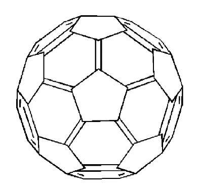 A common type of drawing of C60, showing double bonds at the site of the shortest bonds and not showing the back side of the ball.
