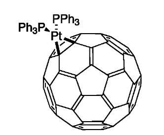 A typical transition metal complex of C60, (Ph3P)2-PtC60.