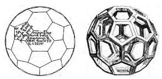 The truncated icosahedron according to Piero della Francesca (Libellus de Quinque Corporibus Regularibus, 1492 manuscript at Bibliotheca Vaticana) and Leonardo da Vinci (in L. Pacioli, De Divina Proportione, Bologna 1498).