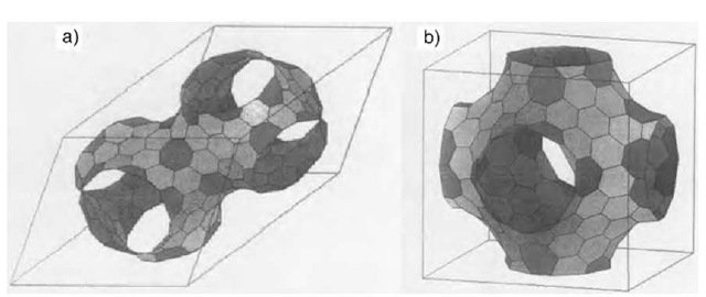 The unit cells of D-type (a) and P-type (b) schwarzites with a tessellation of hexagonal and heptagonal tiles. Schwarzites are three-periodical minimal surfaces. According to Euler's theorem, heptagons (darker grey) must be 24 in the unit cell of both types, whatever is the number of hexagons (except 1). D-type schwarzites have the structure of a diamond lattice so that the unit cell can be split into two identical elements having 12 heptagons each, whereas P-type schwarzites have the structure of a simple cubic lattice. In principle, schwarzites can be associated to any kind of lattice, either periodic or amorphous (random schwarzites).