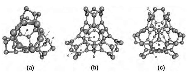 The atomic structure of the elements of the smallest D-type schwarzites with a tetrahedral symmetry: (a) (C28)2 with 12 heptagons per element and no hexagon; (b) (C36)2 with 4 hexagons per element; (c) (C40)2 with 6 hexagons per element. The unit cell of D-type schwarzites contains two elements. Note that (C28)2 has a chirality that allows for two enantiomeric lattices, whereas (C36)2 and (C40)2 are achiral.