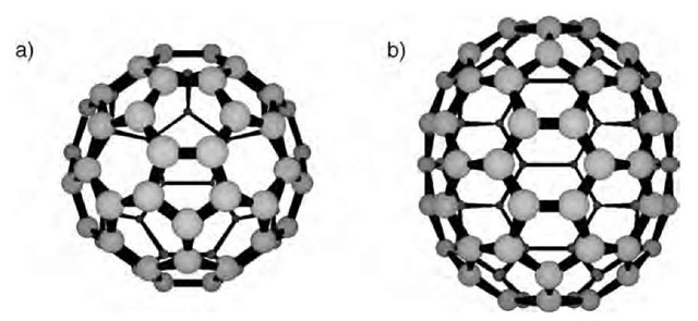 The two most common fullerenes: a) C60 and b) C70.