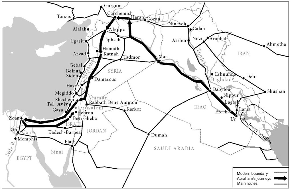 Map showing route of Abrahams wanderings and other main routes of the ancient East
