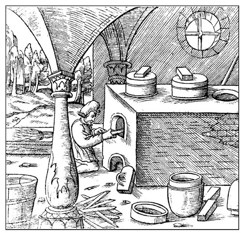 Georgius Agricola A woodcut from the first edition of his De re metallica (1556), the first systematic textbook on mining and metallurgy. The operator is seen riddling a smelting furnace.