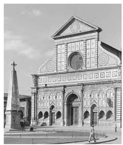 Leon Battista Alberti His architectural designs include the facade of the west front of Sta. Maria Novella, Florence (1456-70).