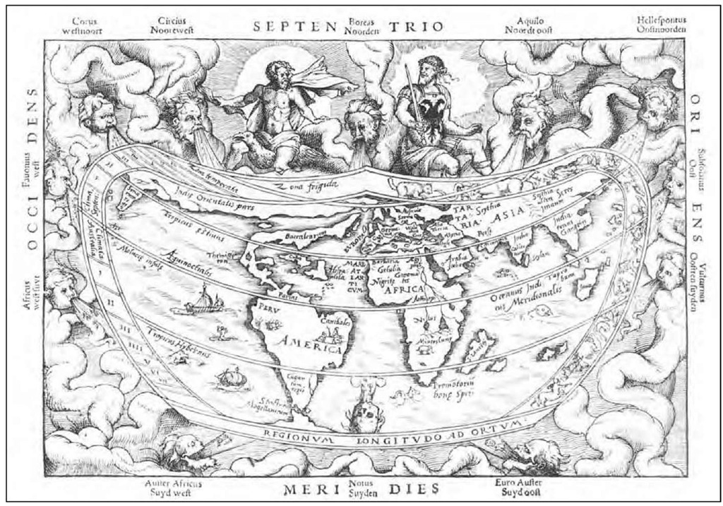 Peter Apian A map of the world from the first French translation (1544) of his Cosmographia (1524). The maps in this work were among the first to name (South) America and to show it as a separate continent.