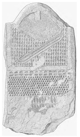 Slab from dolmen MXI, type B stela. Height: 157.5 cm.