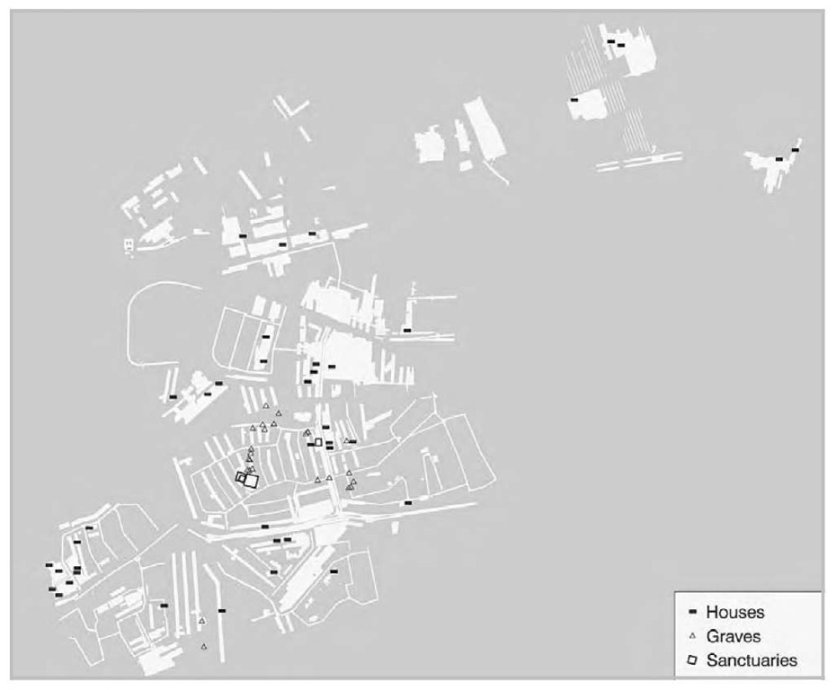 "Micro landscape settlement evolution trade through large scale resue excavation in the district of Oss, The Netherlands. Shown here is the distribution of farmsteads and other features dating to the Middle Iron Age (500-250 b.c.). The houses represent four or five dispersed farmsteads (a population of about thirty people) that have been replaced almost every generation. They were clustered around a central burial that already had been used as a ""loose"" cemetery for centuries. In the Middle Iron Age sanctuaries were raised in this area connected to burials. The area measures 2 x 2 km, with about 60 hectares excavated."