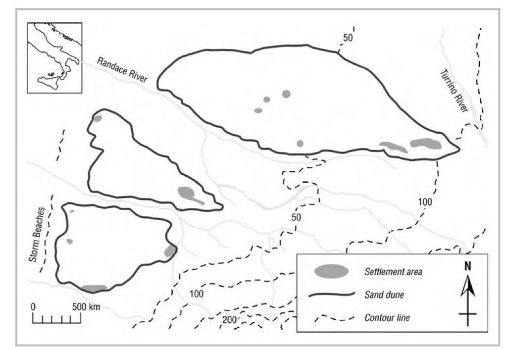 The distribution of Stentinello settlements at Acconia in southern Italy. The survey, by repeating the coverage of the Acconia area several times, obtained the dense pattern of impressed-ware Neolithic settlement observed here.