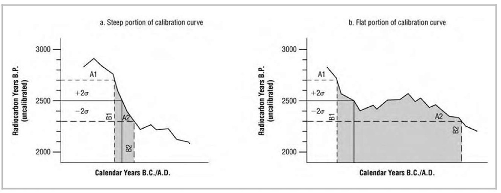 Hypothetical radiocarbon calibration curves derived from tree rings.