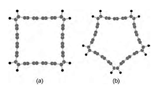 Geometries of the polygonal fluorinated carbon tubes: (a) square F4-(10,10) and (b) pentagonal F5-(10,10).