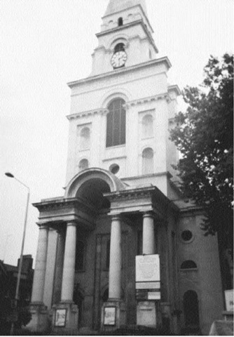 Spitalfields Church. It was this clock that Sarah Lewis used to time her arrival in Dorset Street. Soon afterward she saw a man standing in the entrance to a lodging house and looking up Miller's Court. That man was almost certainly George Hutchinson.