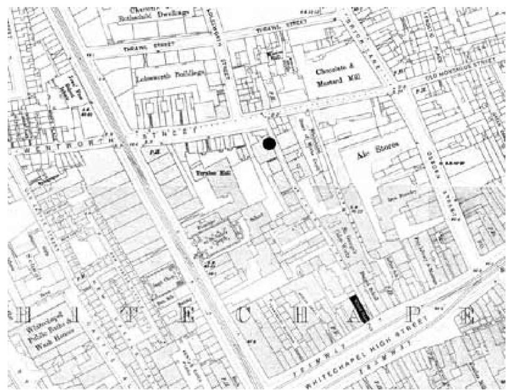 Martha Tabram met her death on a landing of the marked building. Note that Angel Alley, where Mary Ann Connolly took her soldier, runs parallel and to the east.