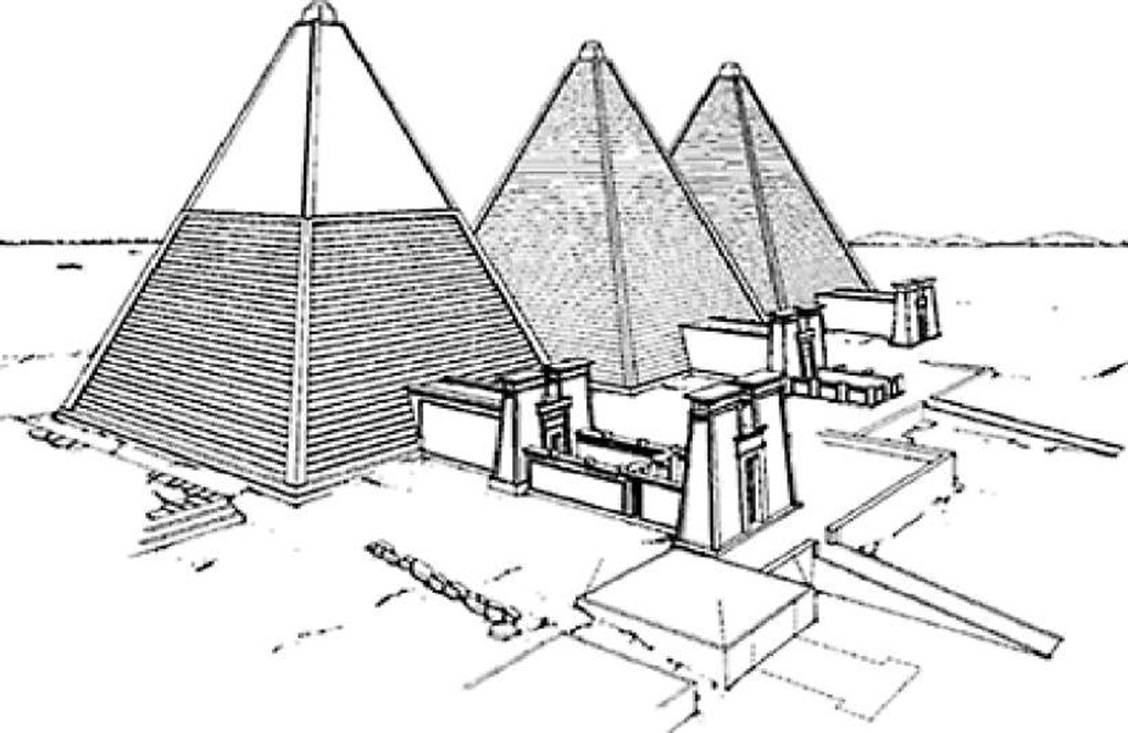 Conjectural restoration of pyramids Beg N 11, Beg N 12 and Beg N 13 at Meroe