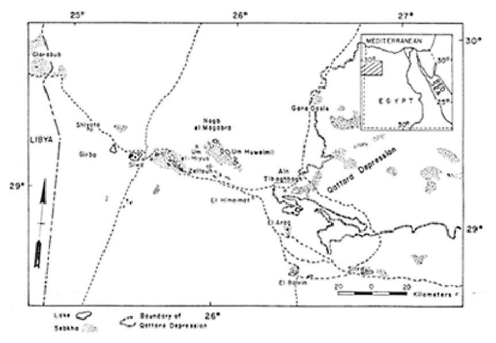 Location of Siwa Oasis and the Qattara Depression in the Western Desert