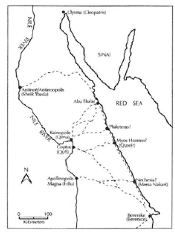 Map of the Eastern Desert with principal routes and emporia, on both the Nile and the Red Sea