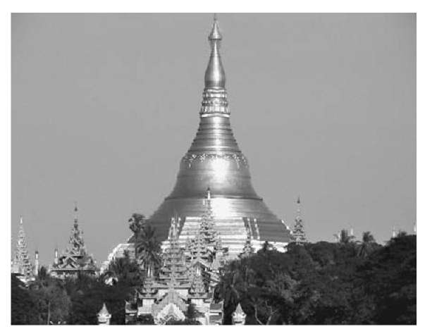 Central stupa and western entranceway to Schwed-agon Temple, surrounded by smaller stupas, Yangon (Rangoon), Myanmar (Burma)