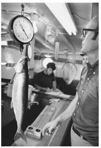 Scientists form the Untied States Fish and Wildlife Service monitor lake trout and other fish near Ludington, Michigan to measure the impact of sea lamprey infestation.