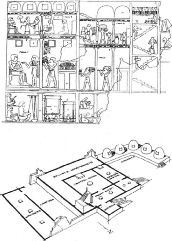 Representation of Djehuty-Nefer's house in his tomb in western Thebes (TT 104) and its interpretation.