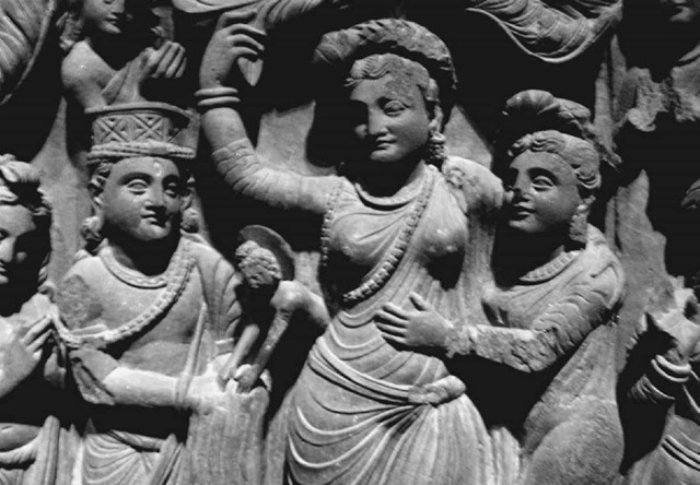 Stone frieze showing the Buddha's mother, Maya, giving birth to the baby Prince Siddhartha, who emerges from her right side; scene taken from the life of the Buddha, second to third century c.e.; originally from Gandhara, Central Asia, now in the Freer Gallery, Smithsonian Museum, Washington, D.C.