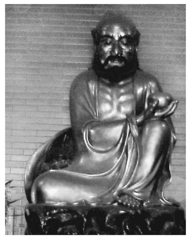 Lacquer image of Bodhidharma, the founder of Chan Buddhism, from the Hualin temple, Guangzhou, southern China