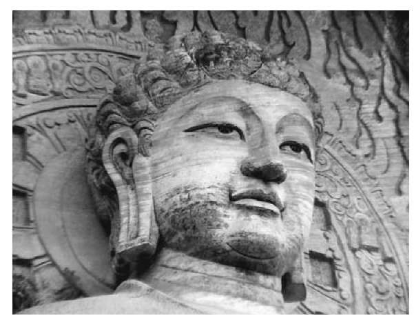 Buddha image at Le Shan, Sichuan, western China, reproducing the original statue at the Yun Gang Caves, in northern Shaanxi, originally carved fifth to sixth centuries c.e.