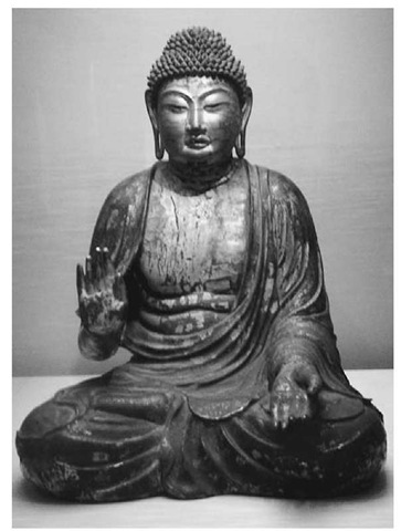 Seated Amitabha figure in wood and lacquer, from the Tokyo National Museum