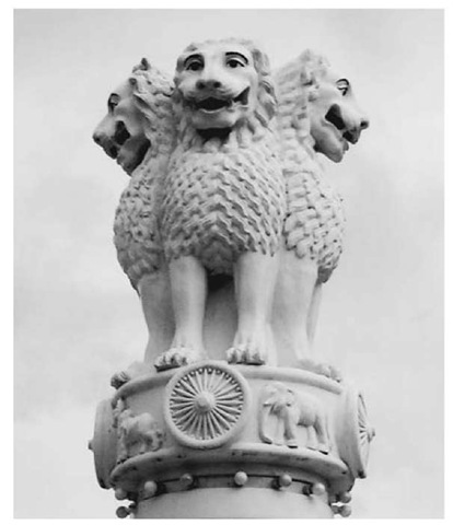 Three lions, the symbol of Emperor Asoka, atop a pedestal at the Kyauktawgyi Paya temple, Mandalay, northern Myanmar (Burma), which re-creates the Emperor Asoka's pedestals and stone edicts erected throughout India