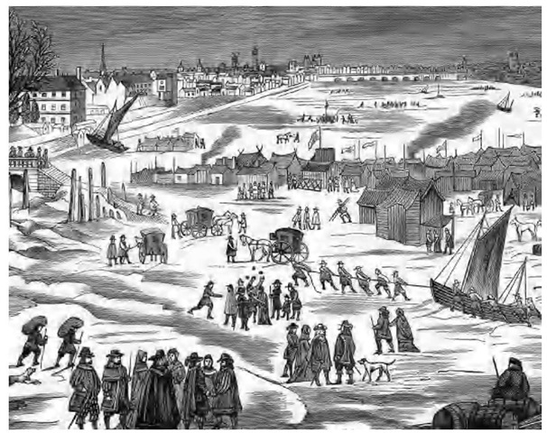 The Little Ice Age, which lowered world temperatures from about 1600 to 1750, froze large rivers and canals in Europe. This engraving depicts a fair held on the ice of the frozen River Thames in London in 1683.