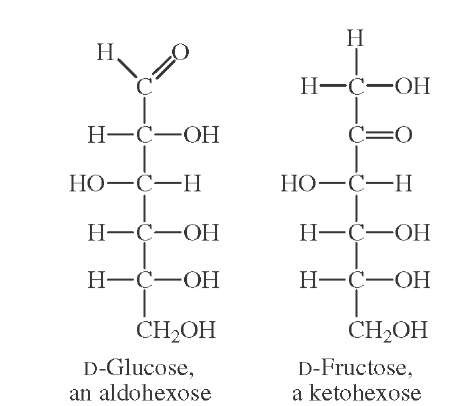 Projection formulas of D-glucose and D-fructose.