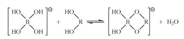 Borate ester formation. c/s-Hydroxyls are preferred. The extent of reaction was originally monitored by following the change in conductivity of borate solutions on the addition of saccharide.