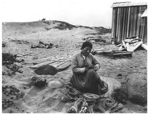 Wiyot baskets were particularly well made, and women generally wore twined basket hats. This Wiyot woman is basket weaving in the dunes near Eureka in 1900.