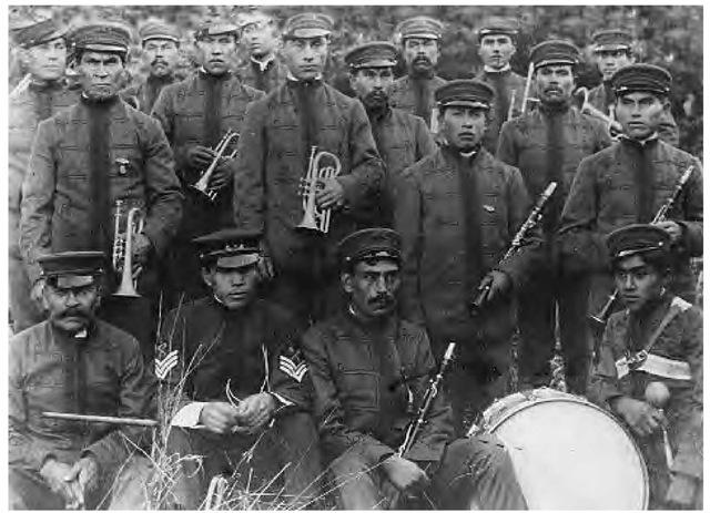A Haida brass band from Howkan, Alaska, circa 1905.