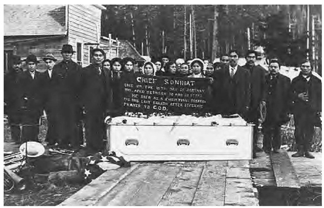 Christian funeral of Chief Sonihat in 1912. Christian (Methodist) missionaries arrived in Haida country in 1829. By 1883, Haida villages were divided between Methodists (central and southern) and Anglican (northern) missionaries.
