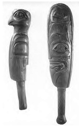 The Haida were outstanding wood-carvers. Their masterpieces included weapons such as these carved clubs, canoes, totem (mortuary) poles, house fronts, walls, screens, bentwood boxes, ceremonial masks, tools, and implements. Designs included zoomorphic crest figures as well as mythological beings and events.