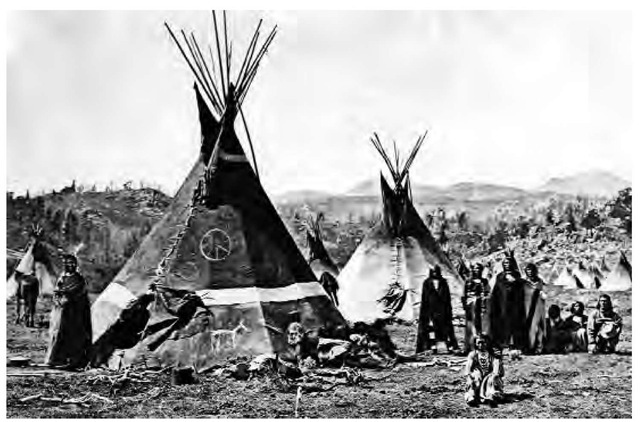 During most of the nineteenth century, the Eastern Shoshone, under Chief Washakie, were often allied with whites and grew prosperous. Pictured here is Chief Washakie's village near the Sweetwater River in Wyoming, 1870.