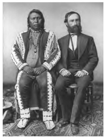 "Many Utes came to Washington in 1868 to discuss the creation of the tribe's first two reservations. Chief Ouray is seated to the right of an unidentified man. The U.S. government considered Ouray ""head chief of the Utes,"" paid him an annual salary, and supplied him with expensive goods."