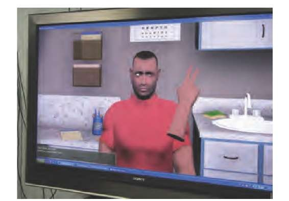 Training of medical students with a virtual patient. The setting is an ophthalmologist's office, and the patient can be asked to perform various tasks, such as telling the number of fingers indicated, or following the hand with his eyes. In this simulation, the hand is controlled by the medical student by means of a three-dimensional positioning device. Simple clicks make it possible to extend a specific number of fingers.
