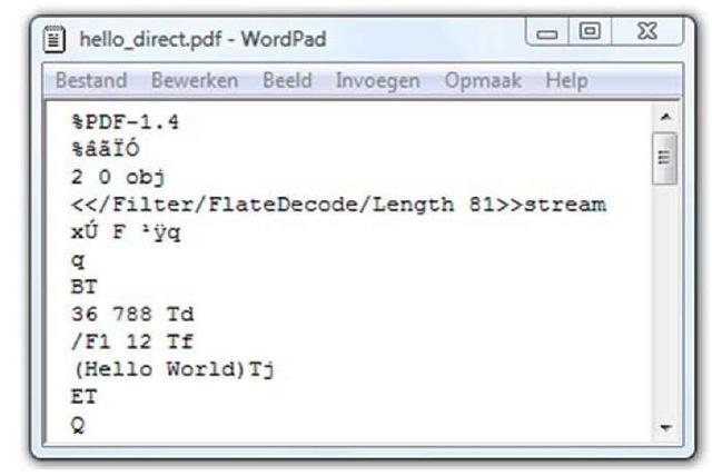 PDF document opened in WordPad