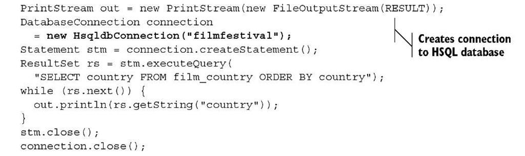 Listing 2.1 DatabaseTest.java