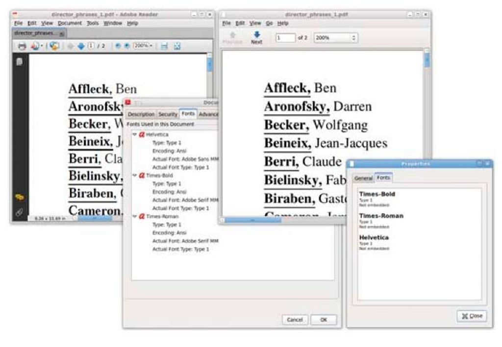A PDF file opened in Adobe Reader and Evince on Ubuntu