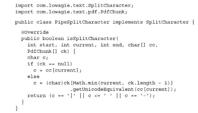 Listing 2.11 PipeSplitCharacter.java