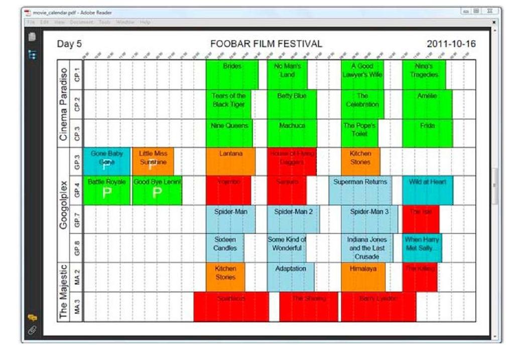 Film festival timetable