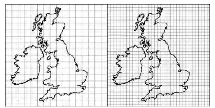 Determination of the box-counting dimension. The image is subdivided into squares of size s, and the number of squares that contain at least one pixel of the feature (in this case, the coast of England) is counted. Scaling properties are determined by repeating this process with different box sizes.