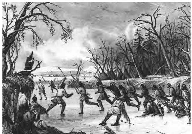 Abenaki men engaged in frequent races and archery contests. They also played ball games, including lacrosse. This nineteenth-century drawing by Seth Eastman depicts men playing ball on the ice.