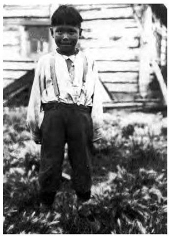 A Bear Lake Dogrib boy in 1924. The European style of dress illustrates the degree of acculturation even at this early date.
